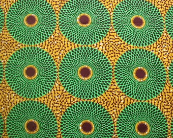 Ankara fabric, 6 yards, Record Ankara Fabric, Green and Mustard fabric, African wax print, Circle print fabric, 100% cotton, Nsu Bura