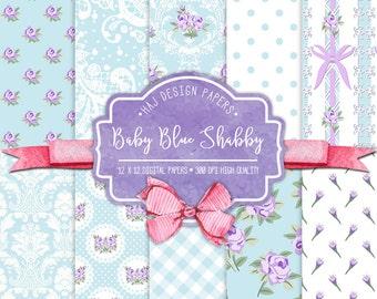 Shabby chic digital paper : Baby Blue Shabby, blue digital paper with purple roses, flower digital paper, baby blue printable paper