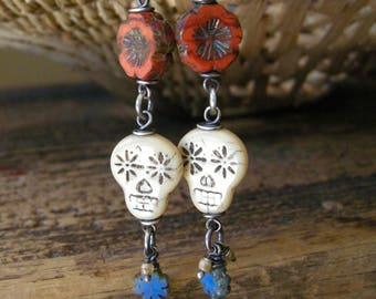 sugar skull earrings, day of the dead glass bead earrings in sterling silver