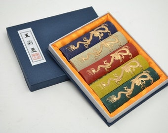 Free Shipping Chinese Calligraphy Material  Hu Kaiwen Colored Tung Oil Soot Ink Stick Ink Block Set / Five Dragons - 155g- 0007T