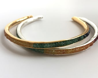 Anticlastic Birthstone Gemstone Cuff Bracelet Genuine Natural Rainbow Sapphire Emerald Ruby 18K 14K Solid Yellow or White Gold Bangle