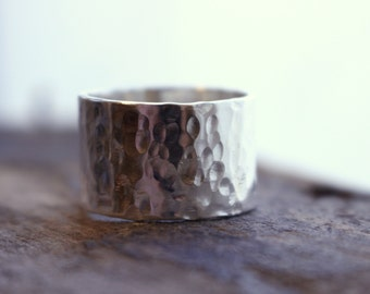 Wide Band Sterling Silver Ring - Personalized ring bad