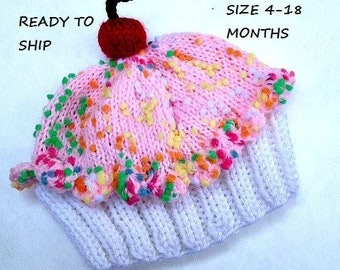 Cupcake Hat with Cherry on Top Marshmallow Cream Cake Cotton Candy Pink Frosting Sprinkles baby toddler children adult 3 6 9 12 18 months