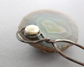 Copper hair fork pin with coin shape white fresh water pearl - Hair accessory - Hair pin - Hair accessory - HP002