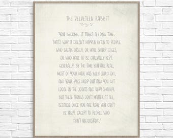 The Velveteen Rabbit Art Print Poster, The Velveteen Rabbit Quote, Nursery Decor, Childs Room Wall Art