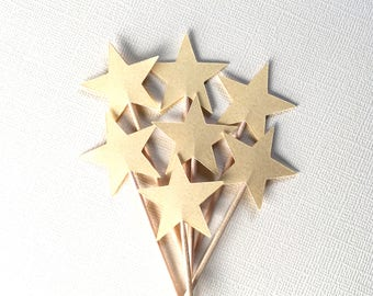 15 Gold Shimmer Star Cupcake Toppers, Twinkle Little Star Baby Shower, Graduation, Wedding, Birthday, Holiday, Christmas, New Year