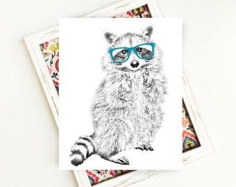 Raccoon Print, Woodland Animals, Animal Art, Animal Printables, Raccoon Art, Raccoon with Glasses, PRINTABLE Art, 8x10, Digital Download