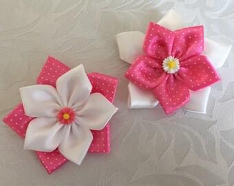 Kanzashi Pointed Petal Flower Hair Clip/ Hair Bows Pair
