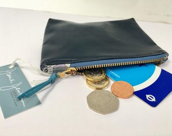 Navy Faux Metallic Leather with Liberty of London Lining Coin Purse