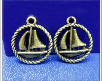 10 Antiqued Brass Boat Charms - Sail Boat Charms 19mm PB40