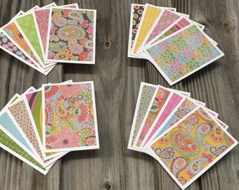 """20-Assorted Paisley/Floral Blank Mini Note Cards( 3 1/2""""x2 1/2"""")w/Envelopes-Matching Tags Also Available-Gifts/Thank You Card/Lunch Box Card"""