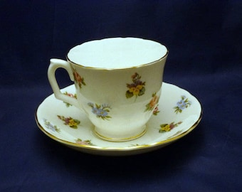 Vintage Staffordshire England Bouquet Fine Bone China Cup and Saucer, 1940s