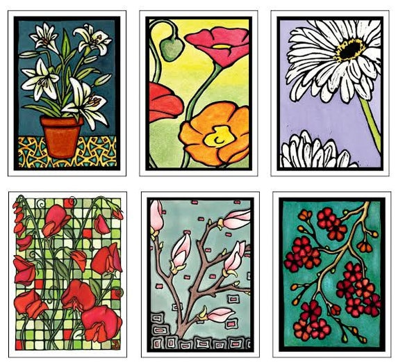 Floral Collection - 6 Blank Greeting Cards - Lilies, Sweet Peas, Poppies, Magnolia, Daisies, Cherry Blossom, Flower Notecards