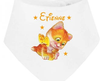Personalized with name kitten baby bib bandana