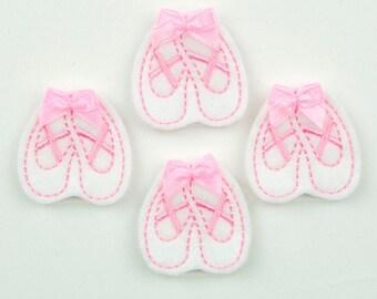 BALLET SLIPPER - Embroidered Felt Embellishments / Appliques - White & Pink  (Qnty of 4) SCF0100
