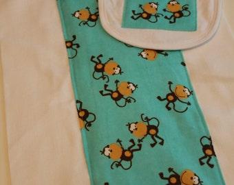 Silly Monkeys on Turquoise Burp Cloth and Bib Set