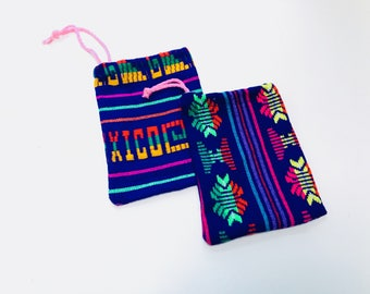 Mexican Favor Bags, Blue Fabric Loot Bag, Wedding Party Favor, Birthday Fiesta Decor, Aztec Party Decoration, Jewelry Drawstring Pouch