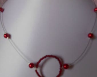 Wedding necklace circle of life Red