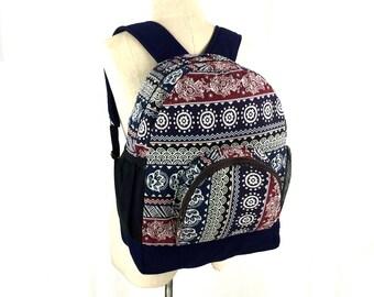 Hippie Backpack - Native inspired, Aztec Canvas Backpack, Teen school backpack, Hipster Boho backpack, Ikat folk backpack, Vegan backpack
