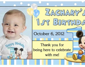 12 Mickey Mouse 1st first Birthday Party Favors Personalized photo MAGNETS ~ FREE SHIPPING