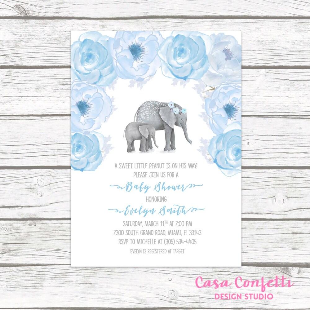 Elephant Baby Shower Invitation Boy, Elephant Invitation, Little ...