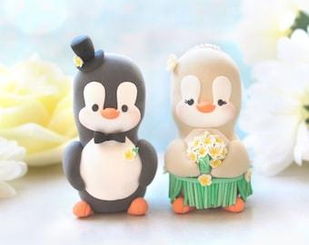 Unique Hawaiian Penguin wedding cake toppers - hula skirt hibiscus plumeria bouquet bride groom figurines destination wedding beach sea