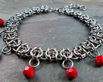 "Chainmaille Necklace - Celtic Visions - Chainmaille Jewelry - 13 1/2"" Length - Choker Necklace - Stainless Steel - Chainmail Jewelry"
