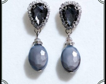 Gray Earrings with crystals