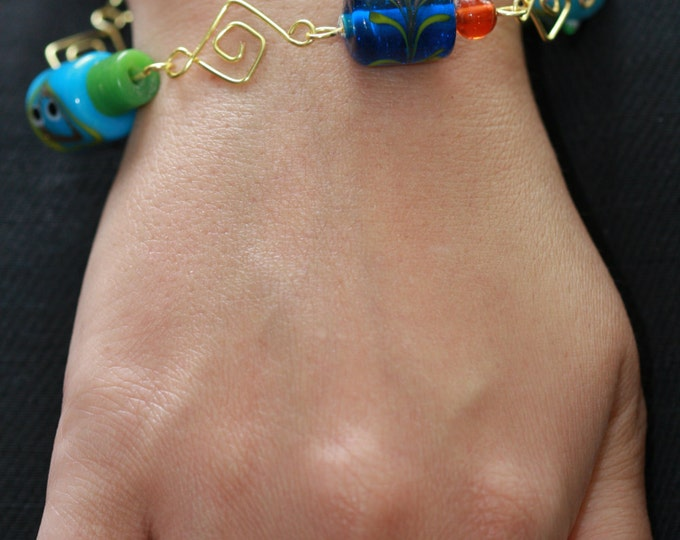 Folksy Turquoise Blue Lampwork Glass Beads and Square Link Bracelet, Unique Blue Bead Bracelet, Blue Beaded Lampwork Bracelet