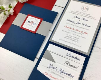 Red, White and Blue Invitations, Navy and Gray Wedding, Modern Wedding Invitations, July Wedding, Patriotic, Pocket Invitations