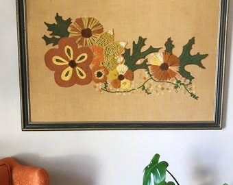 Retro floral crewel, wall hanging embroidered flower art