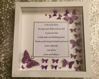 Thankyou 3D Butterfly Handmade Personalised Wall Art Frame Perfect Gift, Christmas, Home Decor
