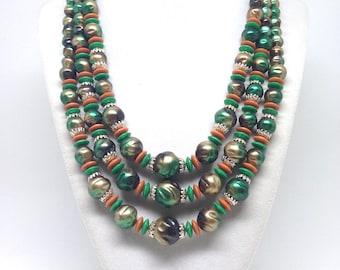 Vintage Estate Signed Japan Green Three Strand Beaded Necklace