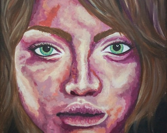 Green Eyes Textured Impressionist Portrait of Woman's Face Original Acrylic Painting on Gallery Wrapped Canvas Art by Breanna Deis