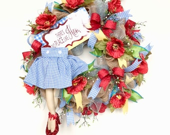 Wizard of Oz Wreath, Dorothy Wreath, Wizard of Oz Deco Mesh Wreath, There's No Place Like Home, Ruby Slippers, Holiday Decor, Door Decor