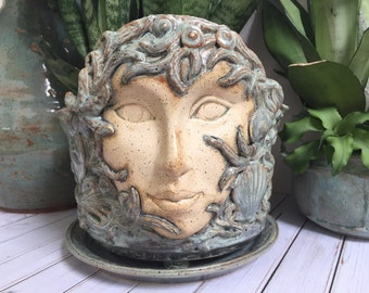 Ceramic Face Planter - Garden Planter Pot - Large Handcrafted Face Pot - Garden Goddess Planter - Ocean Goddess
