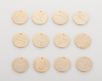 12pcs - Zodiac coin pendants, coin pendants, Jewelry making Polished Gold -Plated- 12pcs [P0452-PG]