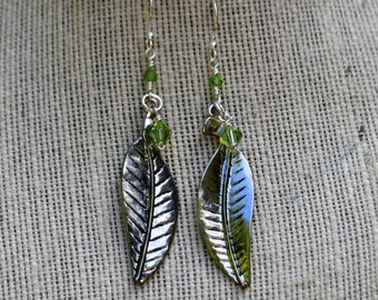 Silver Leaf and Crystal Earrings (E-25)