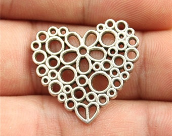 8 Heart Charms, Antique Silver Tone Charms (1B-155)