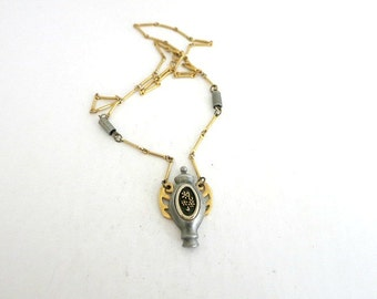 JJ Jonette Pendant Necklace Gold Tone Pewter