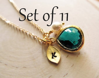 Bridesmaid Necklace Set of 11, Gold Personalized Necklace, Birthstone Necklace, Initial Necklace, Gold Bridesmaid Necklace, Bridesmaid Gift