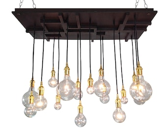 Arts and Crafts Mission Style Chandelier, Mission Style Lighting, Mid Century Light, Edison Bulbs, Modern Lighting, Craftsman