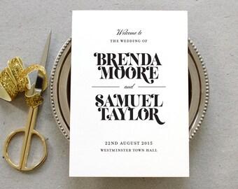 Printable Wedding Program PDF / 'Bold Strokes' Modern Typography Folded Program / Black White / Digital File Only / Printing Also Available
