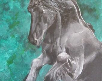 Original acrylic painting Friesian horse.  30x40x4cm cm sobre lienzo/on canvas