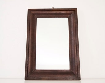 antique wood mirror, decorative wall mirror, wood frame mirror, beautiful simple antique wood hanging wall mirror, vintage