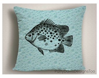 Beach Decor, Coastal Pillows with Fish and Bubbles, Coastal Pillow Covers, Beach Pillows, Nautical Decor, Beach Throw Pillows