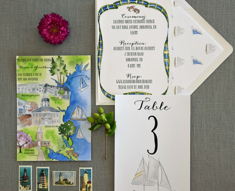 zoom Watercolor Wedding Invitation Custom Wedding Map