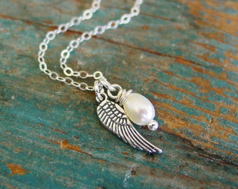 Angel Wing Pearl Necklace,Sterling Silver Necklace,Gifts for Her,Faith Jewelry,First Communion Gift,Confirmation Girl Gift,Memorial Necklace