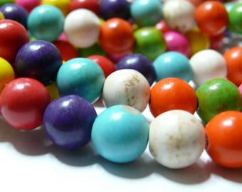 Turquoise Howlite mulitcolor 6mm 20 beads