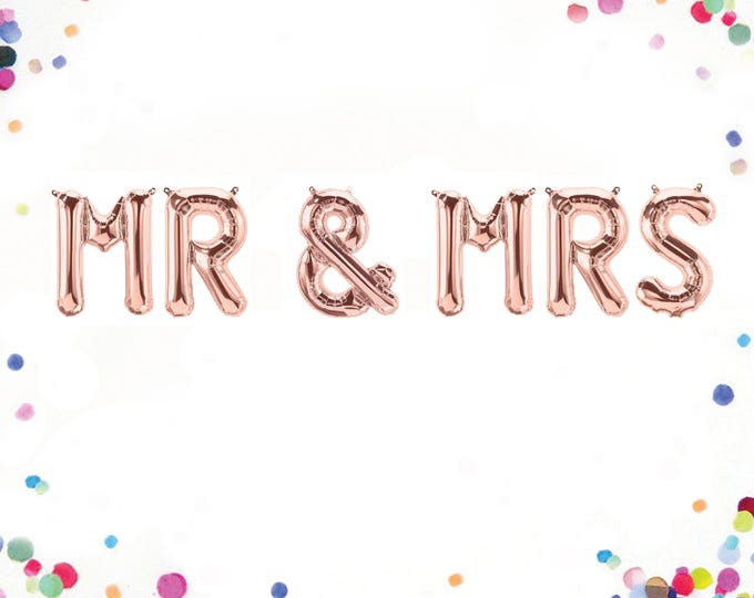 Mr and Mrs Sign, Rose Gold Balloon Letters, Mr and Mrs Balloon Banner, Rose Gold Wedding Decor, Letter Balloons 40, Letter Balloons